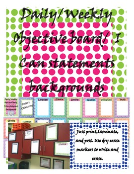 Common Core Standards/ I Can Statements Backgrounds Dot Theme