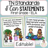 Common Core Standards I Can Statements - First Grade ELA