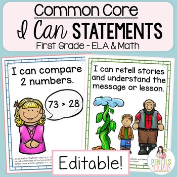 Common Core Standards -  I Can Statements - First Grade ELA & MATH Bundle