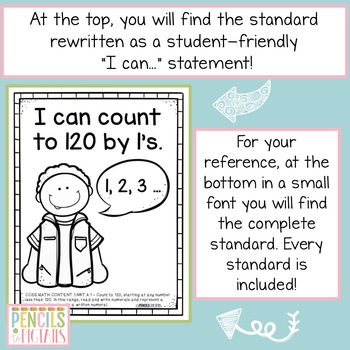 Common Core ELA & MATH Standards I Can Statements for First Grade