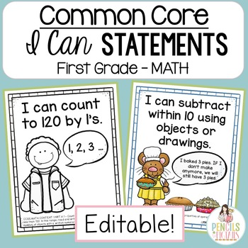 Common Core Standards -  I Can Statements - First Grade MATH