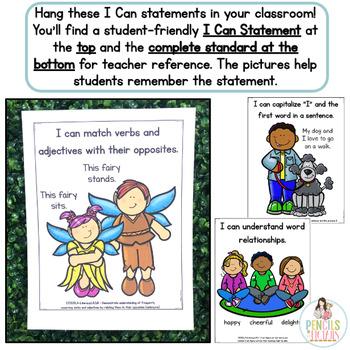 Common Core Standards -  I Can Statements - Kindergarten - ELA