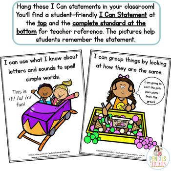 Common Core Standards -  I Can Statements - Kindergarten - ELA & MATH Bundle