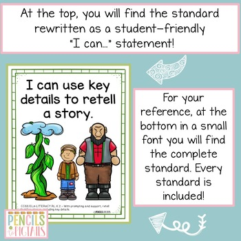 Common Core Standards I Can Statements for Kindergarten - ELA & MATH Bundle