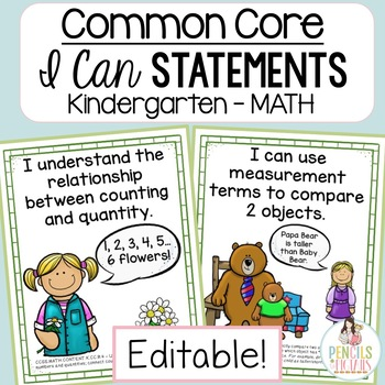 Common Core Standards -  I Can Statements - Kindergarten - MATH