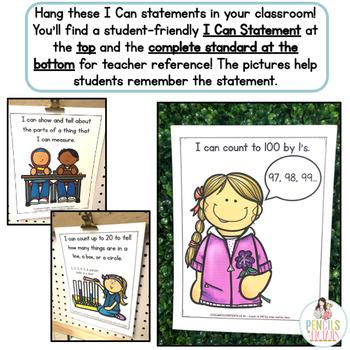 Common Core Standards -  I Can Statements - Kindergarten - MATH