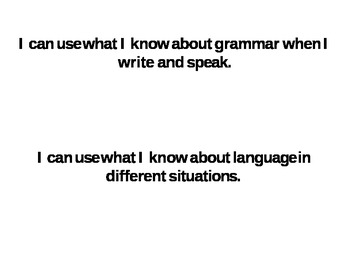 Common Core Standards I Can Statements Language 4th Grade