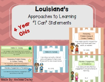"Common Core Standards/ ""I Can"" Statements - Louisiana 4 Year Olds"