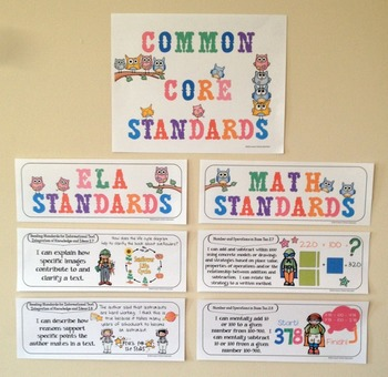Common Core Posters - I Can Statements Math & ELA (2nd Grade) - Half Page Size