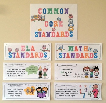 Common Core Posters - I Can Statements Math & ELA (Kindergarten)- Half Page Size