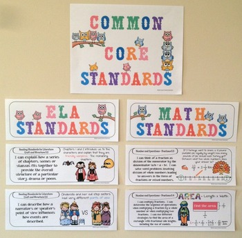 Common Core Posters - I Can Statements Math & ELA (5th Grade) - Half Page Size