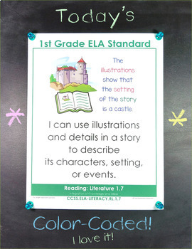 Common Core Standards I Can Statements for 1st Grade ELA - Full Page