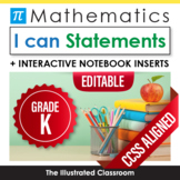 Common Core Standards I Can Statements for Kindergarten Math - Full Page