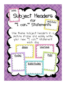 """Common Core Standards """"I can..."""" Statement Headers"""