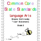 """Common Core Standards Language Arts & Math Gr. 2 """"I Can"""" S"""