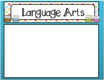 Common Core Standards Language Arts Posters & Cards - Owl/Polka Dot Theme