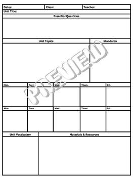 Common Core Standards Lesson Plan Unit Plan Template