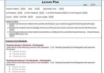 Common Core Standards Lesson Plan Template ELA Kindergarten