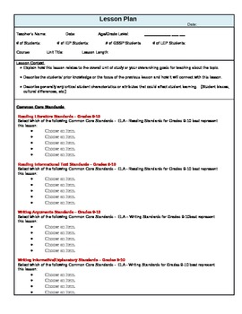 Common Core Standards Lesson Plan Template for ELA Grades 9 and 10
