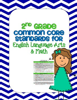 Common Core Standards List for ELA & Math for 2nd Grade