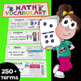 Math Word Wall, Math Vocabulary & Math Interactive Notebook Inserts (250+ Words)