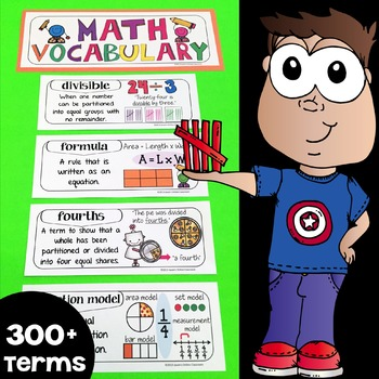 Math Word Wall, Math Vocabulary & Math Interactive Notebook Inserts (300+ Words)
