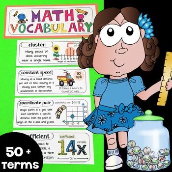 Math Word Wall, Math Vocabulary & Math Interactive Notebook Inserts (6th Grade)
