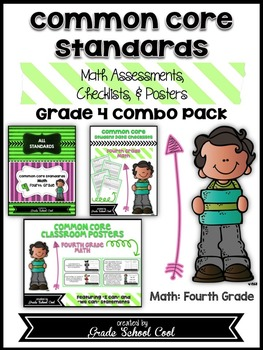 Common Core Standards: Math Assessments, Checklists, Posters Grade 4 Combo Pack