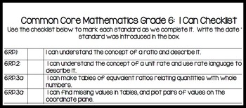 Common Core Standards Math Grade 6 Packet