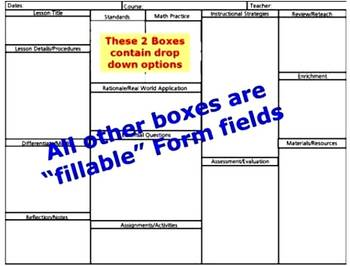 Common Core Standards Math Lesson Plan Template with drop down standards