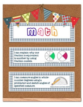Common Core Standards Math and Language Arts 4th Grade - Blue Gingham