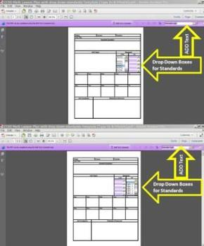 Common Core Standards Math with Drop Down Lesson Unit Plan Template
