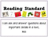 Common Core Standards Mini-Posters - ELA 1st Grade