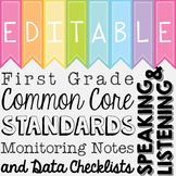 Common Core Standards Monitoring Notes - First Grade Speaking and Listening