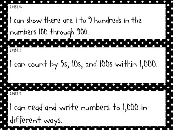 Common Core Standards Pocket Chart Cards for Second Grade Math