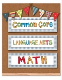 Common Core Standards Poster Cards - 2nd Grade - Lang Arts & Math Blue Gingham