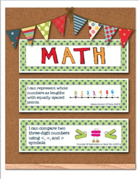 Common Core Standards Poster Cards - 2nd Grade - Lang Arts & Math Green Blue Dot