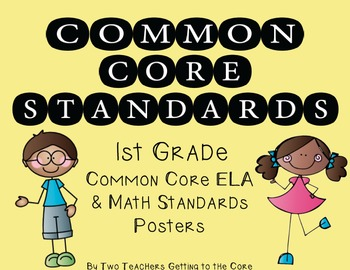 Common Core Standards Poster & Cards for 1st Grade ELA & Math (Kid Theme)