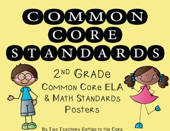 Common Core Standards Poster & Cards for 2nd Grade ELA & Math (Kid Theme)