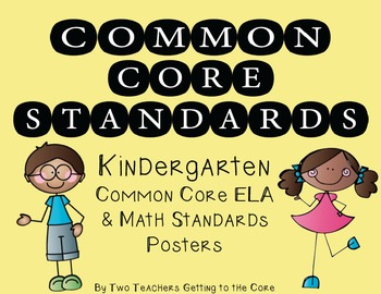 Common Core Standards Poster & Cards for Kindergarten ELA & Math (Kid Theme)