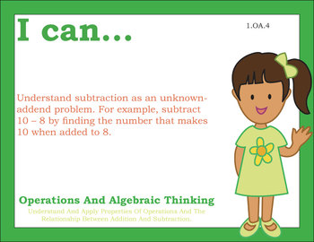 Common Core Standards Posters 1st first grade Math - Primary Colors