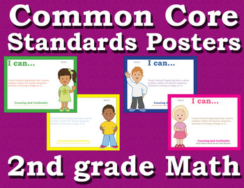 Common Core Standards Posters 2nd second grade Math - Primary Colors