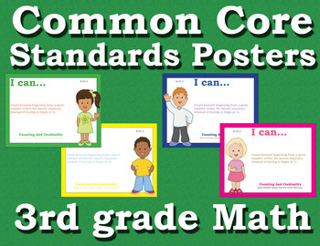 Common Core Standards Posters 3rd third grade Math - Primary Colors