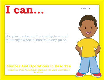 Common Core Standards Posters 4th fourth grade Math - Primary Colors