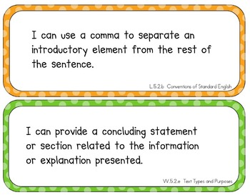 """Common Core Standards Posters (5th Grade --""""I can"""" Objectives)"""