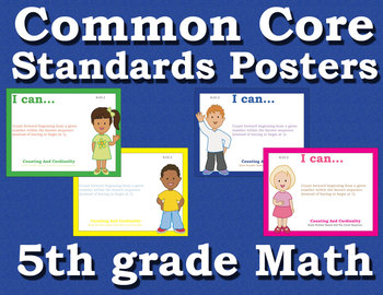 Common Core Standards Posters 5th fifth grade Math - Primary Colors