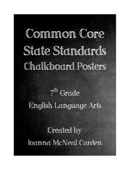 Common Core Standards Posters - 7th Grade ELA - Chalkboard Theme