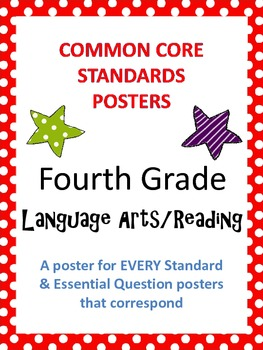 Common Core Standards Posters AND Essential Questions-Fourth Grade LANGUAGE ARTS