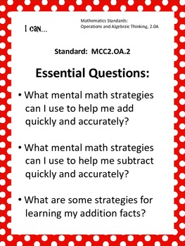 Common Core Standards Posters AND Essential Questions Posters-Second Grade MATH