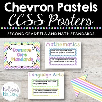Common Core Standards Posters - CHEVRON THEMED - Second Grade Aligned